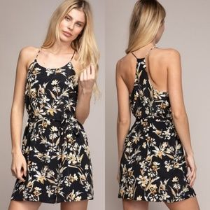 Valentina Halter Floral Print Dress with waist tie